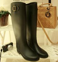 new 2013 Handsome hasp black tall riding boots vc rain boots rainboots