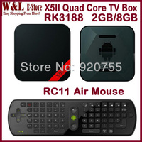 2013 Newest X5 II Google TV BOX Quad Core Android Mini PC RK3188 2GB RAM 8GB ROM Bluetooth RJ45 Optical XBMC + RC11 Air Mouse