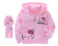 Girls Baby Suit Children's clothing set pink suit kids suit Hello Kitty suit KT cartoon cat Shirt+Pants 2Pcs Retail free ship