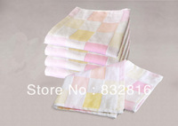 Free Shipping! Cheap 100% Cotton Square Plaid Baby Face Towel Soft Bath Towel Small Kerchief Hand Towel 5pcs/lot