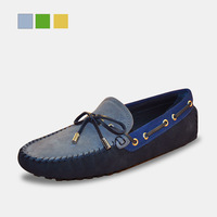 New  items Handsome cowhide color block decoration bow male gommini men casual loafers shoes