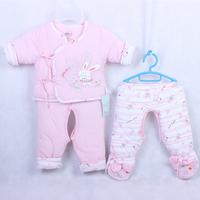 Newborn lacing wadded jacket piece set baby wadded jacket baby winter cotton-padded jacket cotton-padded jacket