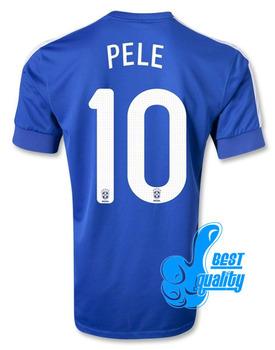 Wholesale Top Thaialand quality Player version 2013/14 Brazil jersey soccer away Blue Football Shirt kit PELE 10