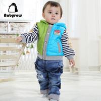Babyrow2013 children's clothing male child color block decoration wadded jacket set baby 123 plus velvet winter thermal
