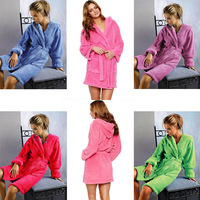 Short design multicolor candy color young girl lourie with a hood coral fleece robe bathrobes