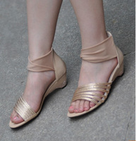 2013 summer fashion ribbon comfortable shoes rhinestone cutout wedges zipper female sandals