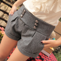Free shipping 2013 new arrival women's legging mid waist double breasted woolen shorts autumn and winter boot pants S-XXL