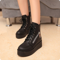 Autumn and winter side zipper lacing platform shoes platform shoes martin boots boots 2013