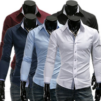 Jogal male personality covered buttons long-sleeve slim shirt 5-color shirt 9132