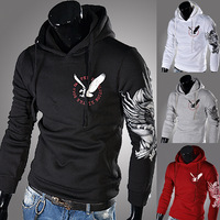 Eagle print male with a slim hood sweatshirt 9364