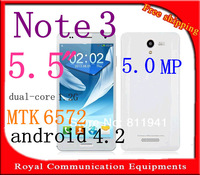 HOT note 3 N9000 5.5 inch android 4.2.2 MTK6572 dual-core 1.2G 5MP Smart Phone Dual Sim Espanol Hebrew Russian