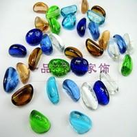 Multicolour transparent stone glass ball glass beads flat beads crystal fish tank decoration stone cobblestone bead