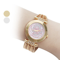 Women's Rose Flower Style Alloy Analog Quartz Bracelet Wrist Watch (Gold)-WAT10294