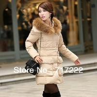 jackets women 2013 winter Women Slim large raccoon fur collar long down jacket free shipping