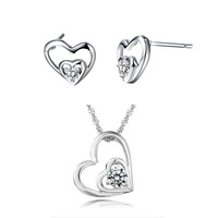 Free Shipping Wholesale Best Quality Platinum Plated Crystal Heart Necklace & Earrings,Fashion Rhinestone Set,GYT176