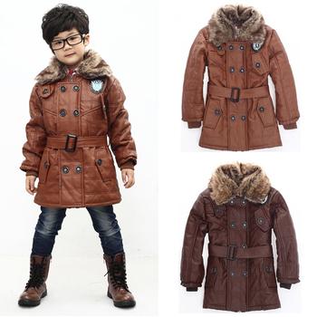 Retail Baby Boys Leather Jacket Kids Plus Velvet Thickening Fur Collar Winter Warm Coat Children Clothing Outerwear 1175