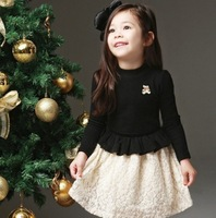 Q-071,1 pcs retail,free shipping 2013 new arrive children dresses korean girl long sleeve lace dress autumn girls princess dress