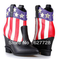 Pointed Toe Printed European Style Women Ankle Boots,Genuine Leather Wedge Boots