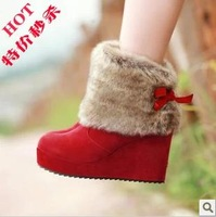 2013 autumn and winter boots fur boots snow boots platform wedges platform boots high-heeled boots
