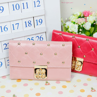 Trend 2013 spring and summer women's wallet plaid short design with diamond plum lock wallet card holder