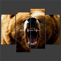 4 Piece Wall Art Painting Print On Canvas The Picture Brown Brown Grizzly Bear Cascade Pictures For Home Modern Decoration Oil