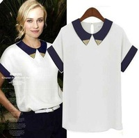 Price 2013 summer chinese cabbage short-sleeve top shirt peter pan collar chiffon shirt female white terylene