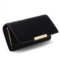 Genuine Leather Women Long Wallet Horse Hair Surface Designer Fashion Purse Card Holder HF10