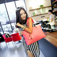 2013 women's handbag fashion one shoulder cross-body handbag genuine leather tassel hanging bear bags  GG70100