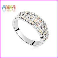 18K White Gold Plated with Rhinestones Paved Brand Design Trendy Finger Ring  #97145