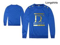 fashion brand Distinct Clothing Men O-neck tee shirts Hip Hop Long Sleeves Casual Cotton full T shirt fall