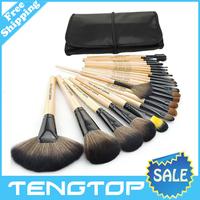 Professional 24 Makeup Brush Set tools Make-up Toiletry Kit Wool Brand Make Up Brush Set Case free shipping
