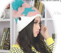 Fashion New Women Winter Lovely Five Star Thick Beanies Ear Buttons Cute Street Warm Caps HTZZM-086