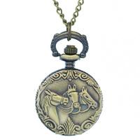 Classical Three Antique Bronzed Horses Mini Pocket Watch Copper Terracotta Warriors Three Horses Quartz Watch Tiny Fob Watches
