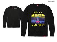 Free Shipping Men's Fashion cotton T shirts o neck brand name pink dolphin Hip Hop Clothing print t shirt