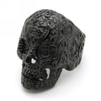 New Design Garden Flower Skull Rings Free Shipping For Man Punk Stainless Steel Fleur De Lis Black Charm Jewelry