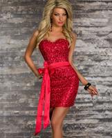 1pac/lot TOP New Fashion women elegant Flower sequins dress beautiful Christmas Cocktail party dress size xs-M A189 4 color xs-M
