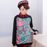 2013 new arrival autumn and winter american comic cartoon print long-sleeve raglan sleeve sweatshirt 1301