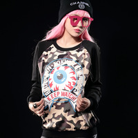 New arrival cartoon HARAJUKU Camouflage print raglan sleeve plus velvet plus velvet sweatshirt female 2327