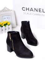 2013 autumn pointed toe zipper brief comfortable female thick heel ankle boots shoes black red trend