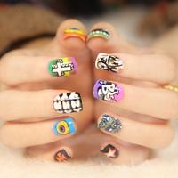 2014 New Arrivals High Quality Japanese Style Kawaii Harajuku eyeball scrawl short fake nails,free shipping