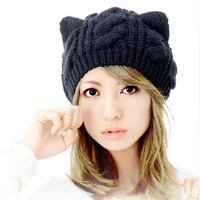 2013 Fashion Korean Women Lady Devil Horns Cat Ear Crochet Braided Knit Ski Beanie Wool Hat Cap Winter Warm Beret HTZZM-087