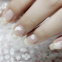 116 pieces 3D Plum Snow Flakes Nail Sticker White Sparkle Feather Plumage Snowflakes Adhesive Nail Art Design NA0046