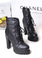2013 autumn thick high-heeled platform skull rivet plus velvet female shoes round toe khaki black zipper