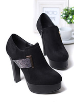 2013 sweet elegant rhinestone round toe velvet autumn coarse shoes Dark Blue black platform
