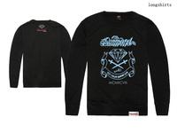 fashion mens long sleeve t shirts diamond supply hiphop design long tee t-shirts tops brand casual mens o neck tee