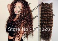 best quality 4# 100 virgin brazilian human hair deep wave hair weft 3pcs/lot free shipping