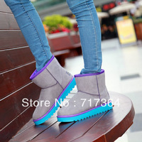 Free shipping Multicolour winter waterproof low boots thickening thermal plush cotton-padded shoes snow boots
