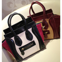 2013 women's genuine leather handbag fashion color block smiley bag portable all-match cross-body shoulder bag  GS80110