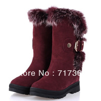 Free shipping Boots cowhide rabbit fur genuine leather flats thermal boots buckle snow boots