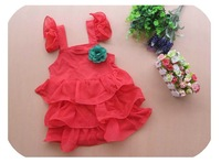 Free shipping Retail Stock Latest Design Girls Summer Dress Harness Dress Roses Cake Dresses Princess Dress 3 ~ 9age